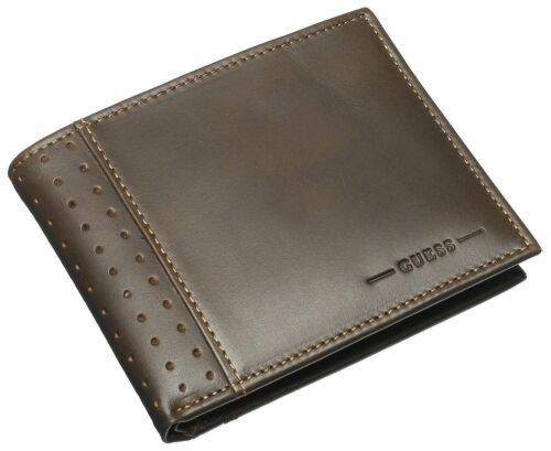 GUESS MEN WALLET RODEO BILLFOLD BROWN LEATHER PASSCASE CREDIT CARD