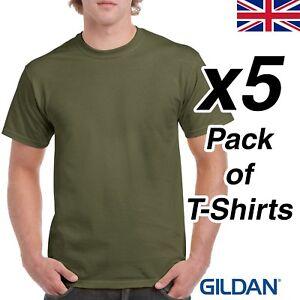 a682f028671 Mens Military Green T Shirt 5 Pack Gildan Heavy Cotton Tee Army ...