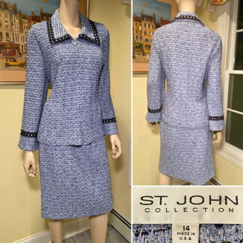 ST JOHN Size 14/Large Blue Boucle Tweed Stretch Wo