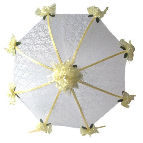 "32/"" Bridal Shower Wedding  Lace /& yellow roses Umbrella"