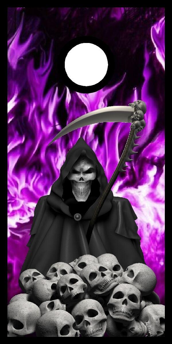 Grim Reaper skulls flame fire cornhole board game decal wraps