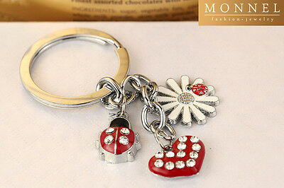 Z68 Cute Red Style Lily Flower Beetle Ladybug & Heart Charms Keychain