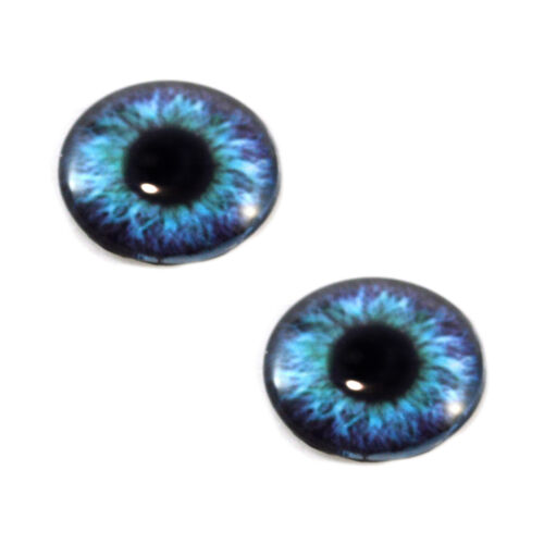 Pair of 30mm Teal and Purple Steampunk Glass Eyes for Jewelry or Doll Making