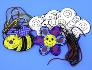 Bugs-Lacing-cards-6-and-Laces-Decorate-Children-Colouring-Threading