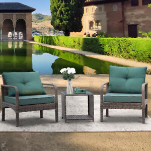 3 PCS Outdoor Rattan Sofa Patio Furniture Wicker Chair W/ Cushions Table Set