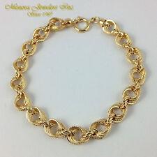 """8"""" 18K Yellow Gold FANCY Charm Bracelet TRIPLE LINK 8mm 5.7g"""