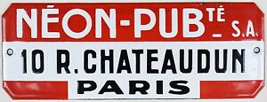 Old-French-enamel-steel-shop-advertising-sign-neon-lights-Paris-centre-1970s