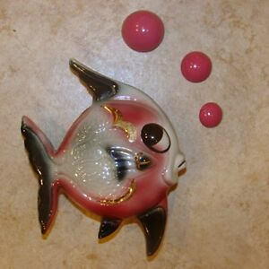 Vintage Ceramic Fish Wall Pocket Plaque Hanging Great With Mermaid Bath Decor Ebay