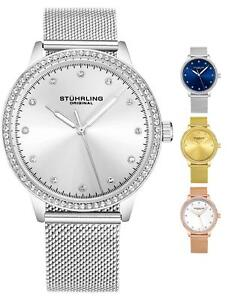 Stuhrling Women's Dress Watch 3904 Mesh Bracelet, Round Silver Dial Crystals