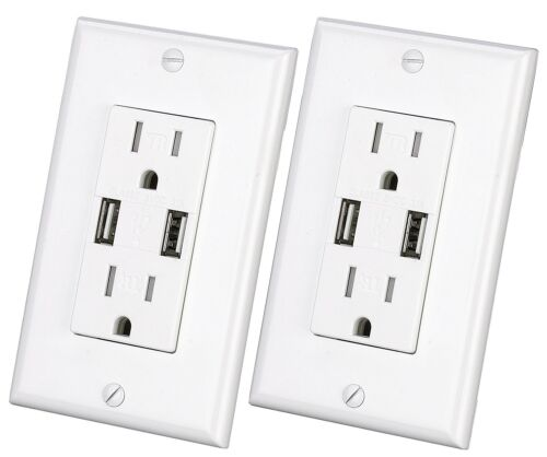 Outlet with USB Charger 3.1A socket Dual Duplex Receptacle 15-Amp w// wall plate