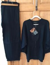 NWT 3X IMAN  2pc Cotton Cashmere Lounge Set  BLACK FABULOUS! $165!