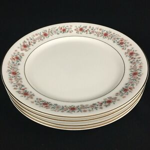 Set-of-4-VTG-Salad-Plates-8-1-4-034-Mikasa-Grosvenor-Petite-Bone-Rust-amp-Gray-Japan