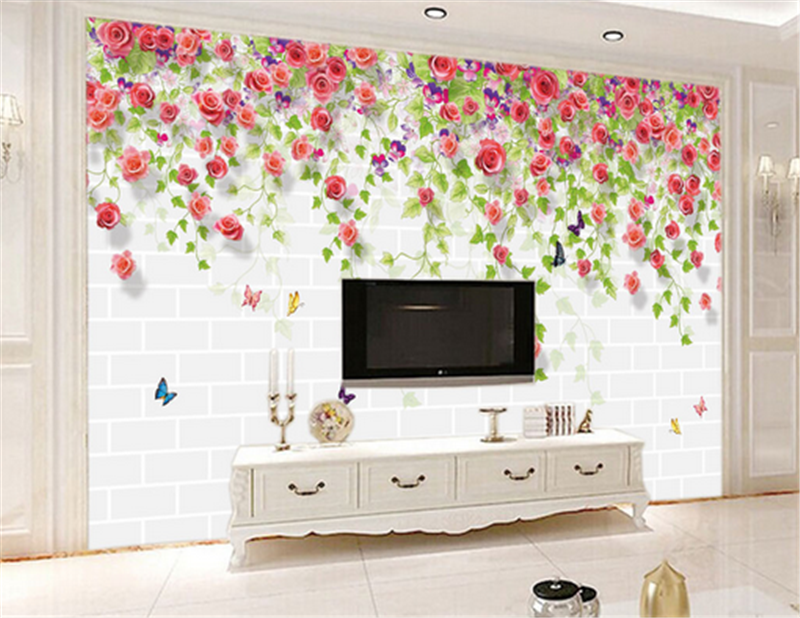 3D Flowers Foliage Wall 933 Wallpaper Mural Paper Wall Print Wallpaper Murals UK