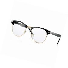 70ad95ddb8 Fake Nerd Glasses Semi-Rimless Clubmaster Clear Lens Frame Horn Rimmed