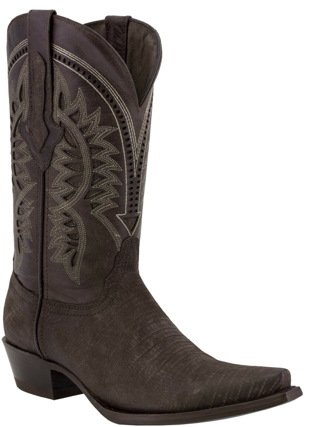 Mens Brown Lizard Print Leather Cowboy Boots Casual Dress Pointed Toe