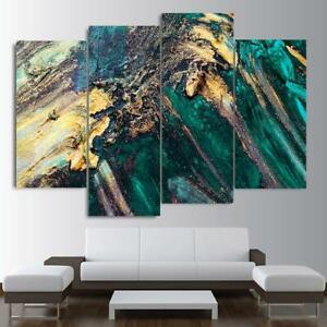 Allusive Teal Abstract Art Nature Wall Art Canvas Print Home Decor 4 Piece Set Ebay