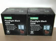 Boxed New Homebase 2 x Black Floodlights 120w Mains Powered glass covered