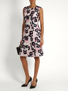 8626756f54 Oscar De La Renta Floral-Print Silk And Cotton-Blend Dress ( Size 8 ...