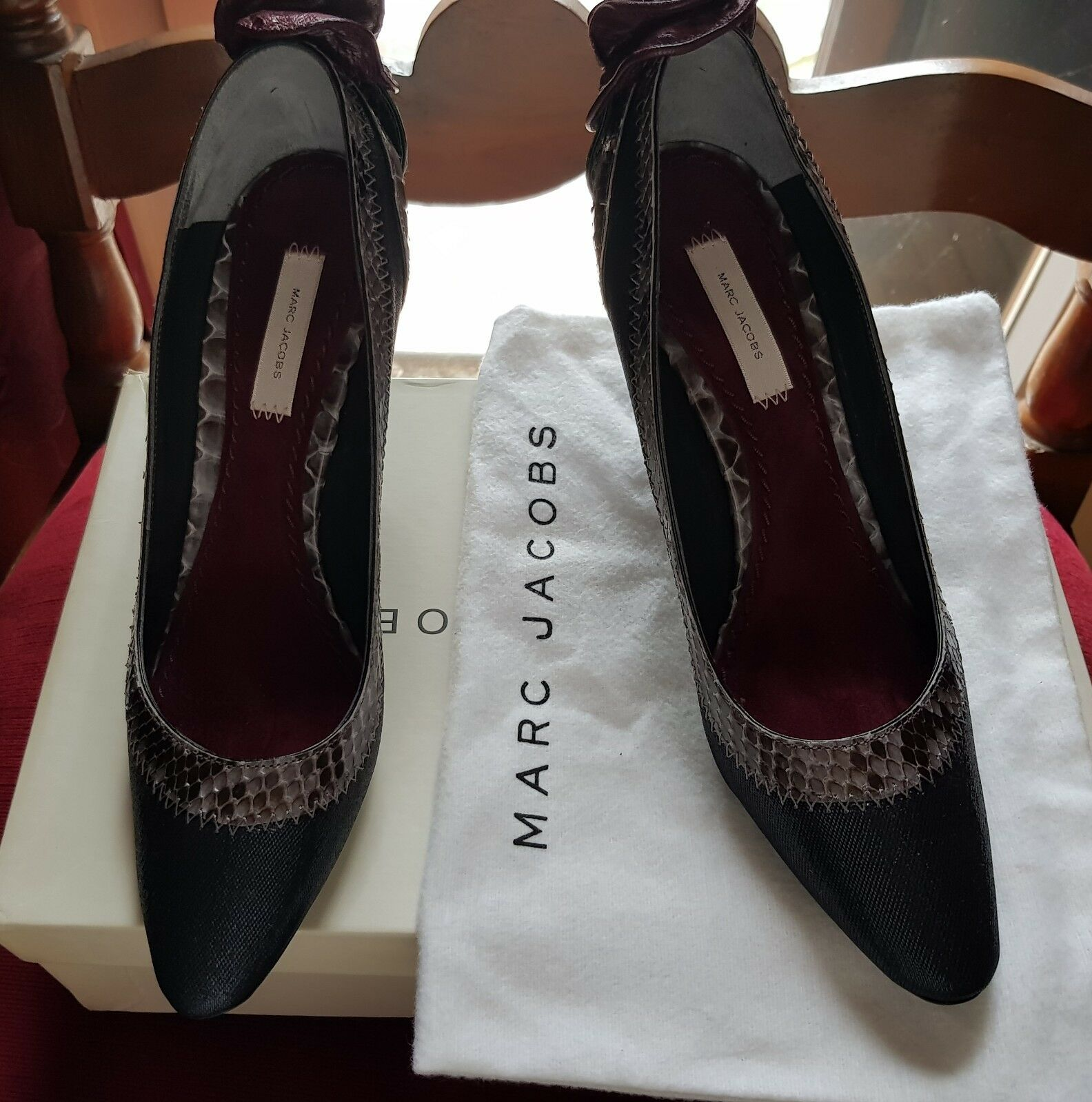 MARC metalizzato JACOBS Schuhe Decollete' pitone metalizzato MARC Schuhes rose pythone Luxus Schoe 8dc611