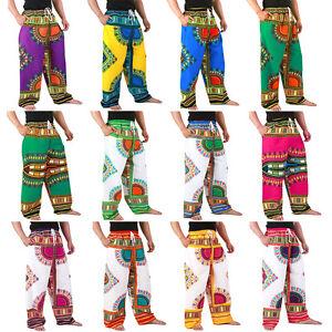 12-Color-Dashiki-African-Pants-Cotton-Aladdin-Yoga-Harem-Unisex-BOHO-Var