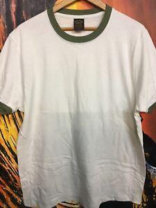 NEW-LUCKY-BRAND-men-tee-t-shirt-white-crew-neck-green-blank-100-cotton-USA-SZ-L