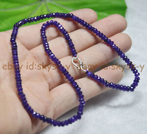 22inches-Fine-2x4mm-Amethyst-Faceted-Roundel-Gems-Beads-Necklace-Silver-Clasp-AA