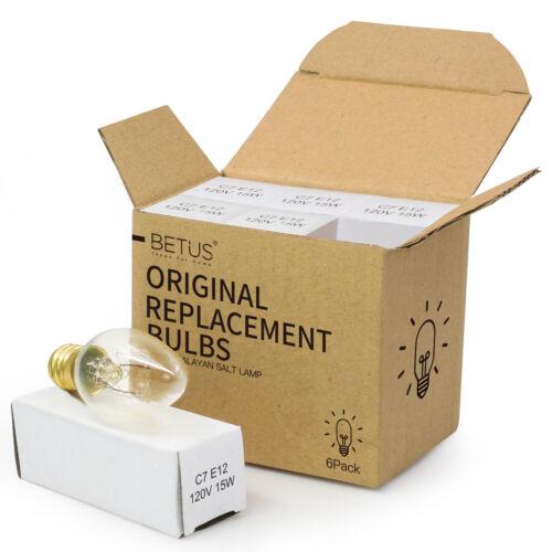 Betus Long Lasting 15 Watt Dimmable Incandescent Candelabra Salt Lamp Bulb 6 PC
