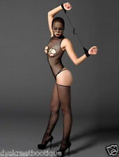 Sexy Slutty Hooded Mask Body Stockings Crotchless Fishnet Garter Fetish Outfit