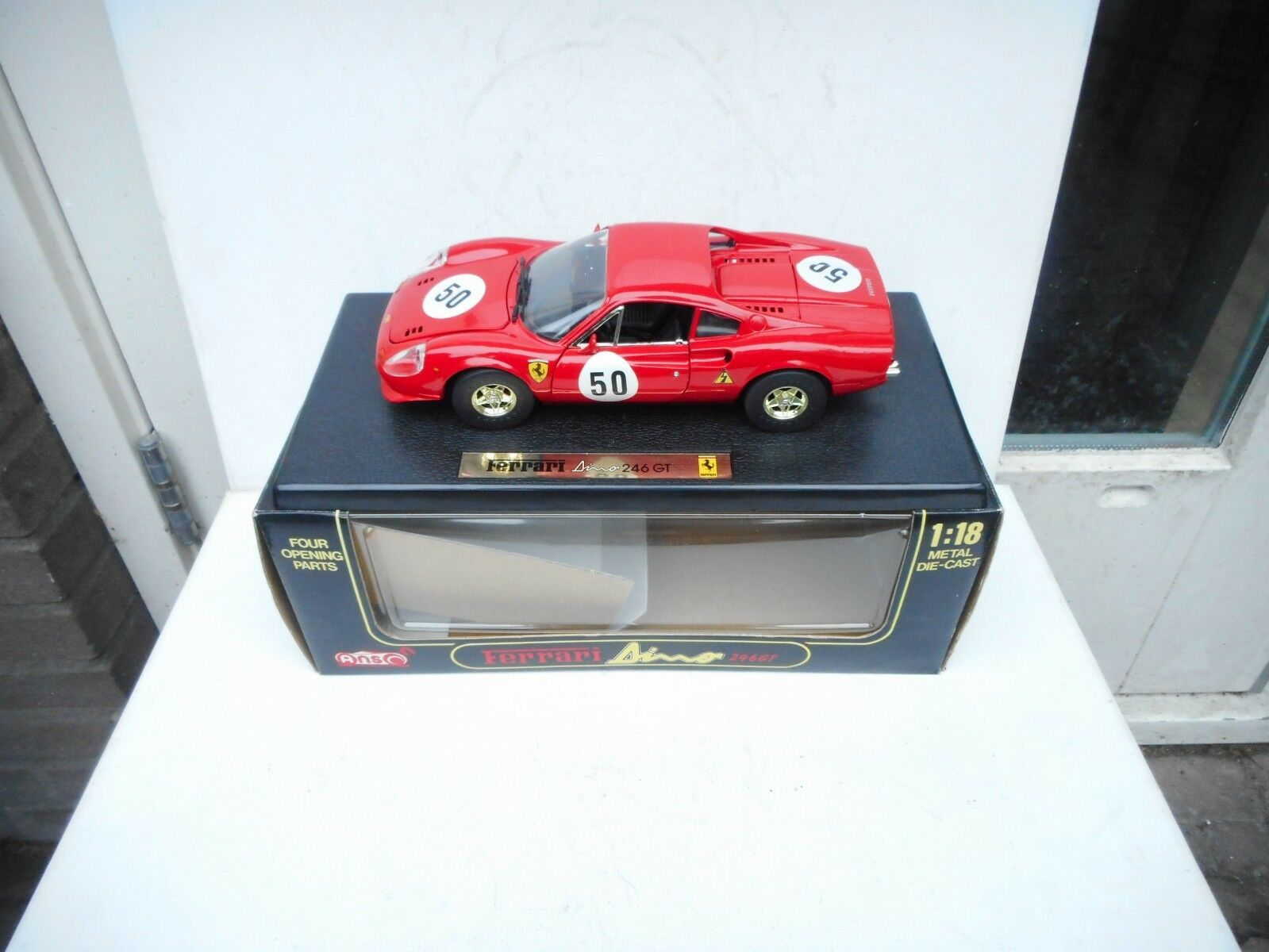 ANSON DIECAST  FERRARI DINO 246 GT RACING ( NO 50 ) RED 1 18 Very N M BOX