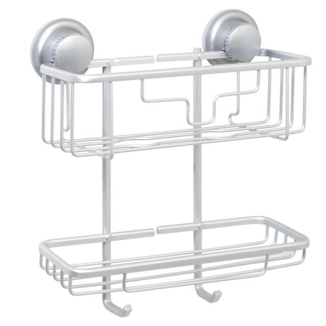 Titan PowerGrip NeverRust Suction 2 Tier Corner Shower Basket Satin ...