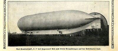 """Luftfahrt & Zeppelin Sammeln & Seltenes Das Stahlluftschiff """"v.1"""" Des Ing.veh In Düsseldorf Bild-ausschnitt Von 1913 To Invigorate Health Effectively"""