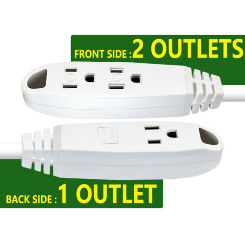 50 Ft Extension Cord Outdoor Safety Durable with 3 Outlets Power Strip UL Listed
