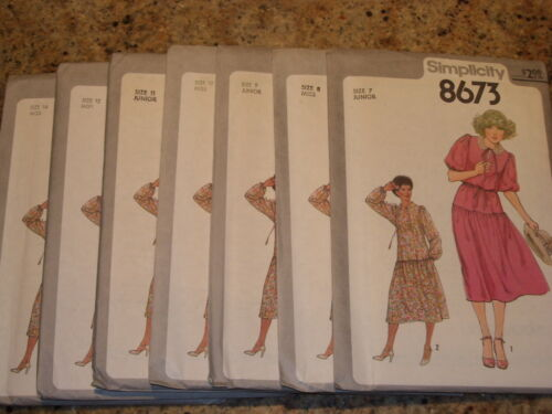 UNCIRCULATED 1978 SIMPLICITY #8673-LADIES RETRO DROP WAIST DRESS PATTERN 7-14 FF