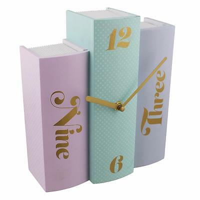 Stacked Book Design Novel Mantel Clock Pastel Colours New Boxed W2388