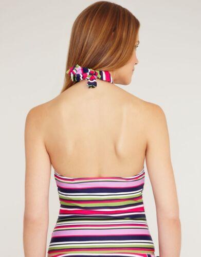Just Peachy Figleaves Tequila Sunrise Halterneck Tankini Top Pink Purple Stripe