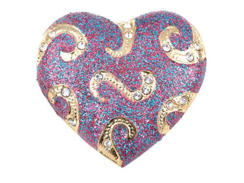 Large Diamante Crystal Glitter Swirl Hold On My Heart Fashion Pin Brooch Jewelry