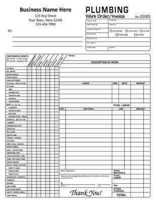 8.5 x 11 TMG023 1000 Custom Automotive Garage Repair Order 2 Part Carbonless