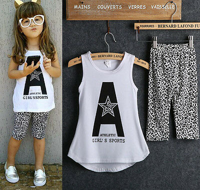 Baby Girls Letters Tops T-Shirt+Leopard Pants Kids Clothes Sets Suit Outfit 1-7Y