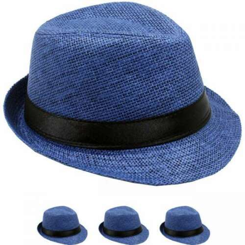 KIDS FEDORA HAT STRAW KID GIRL BOY ROYAL BLUE PANAMA TRILBY HAT GIFT