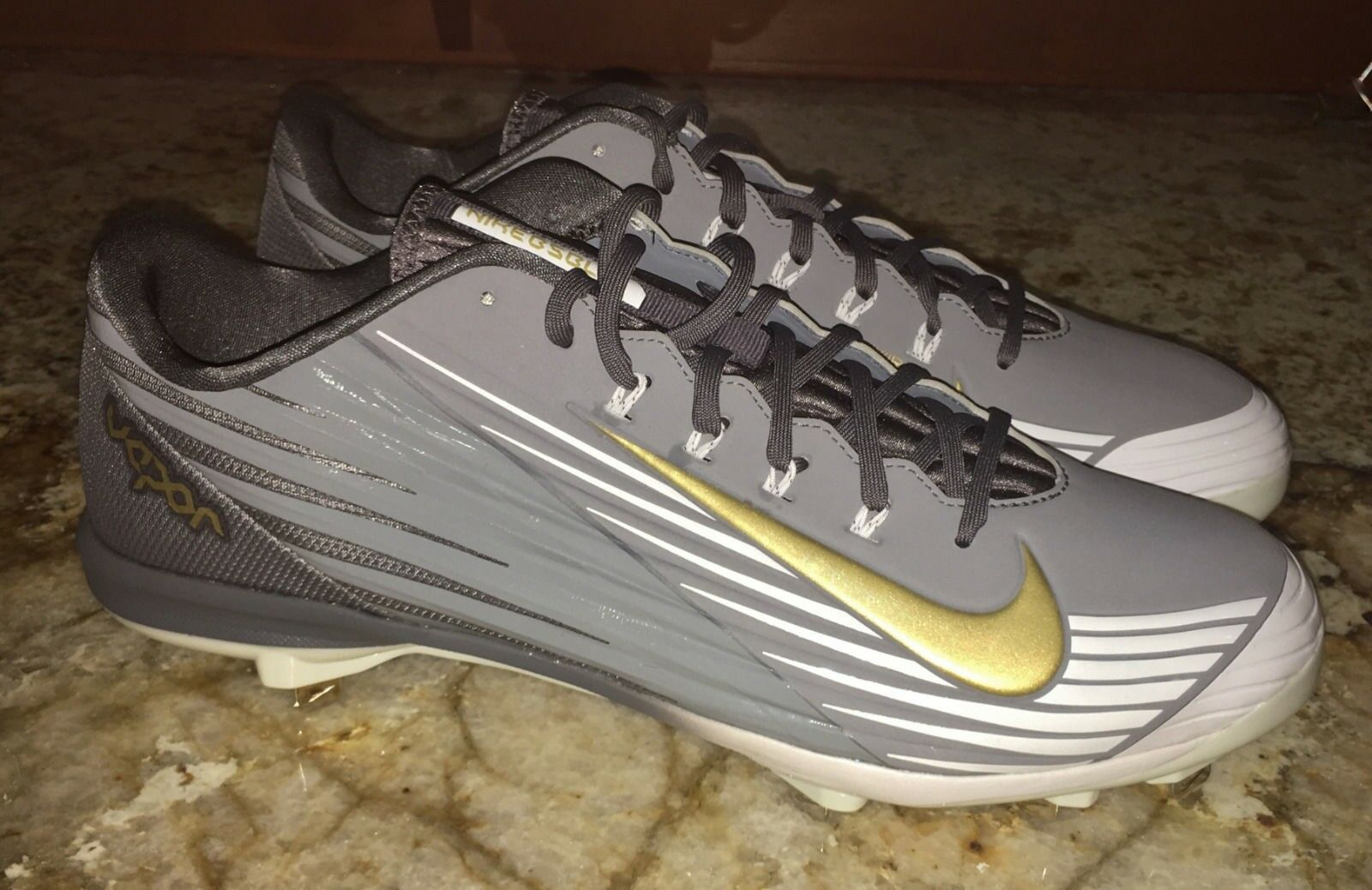 NIKE Lunar Vapor Pro Low Grey gold White Baseball Spikes Cleats NEW Men 8 8.5 14