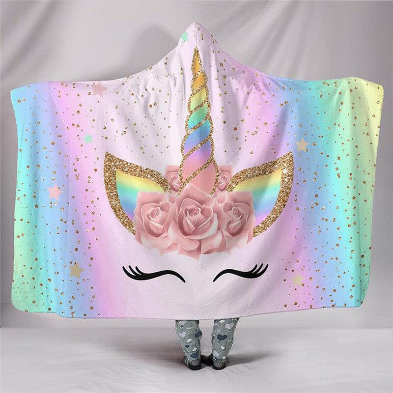 Cute Unicorn Hooded Plush Fleece Blanket Throw Blanket Sherpa Bedding Thin Quilt