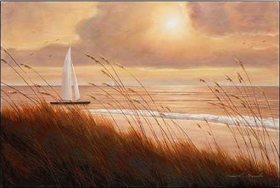 Diane Romanello Beach Grass Sunset Keilrahmen-Bild Leinwand Meer Sonnenuntergang