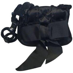 73fd79a377c Yves Saint Laurent YSL Black Silk Satin Ribbon Bow Evening Bag   eBay