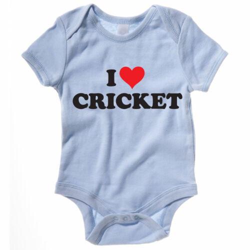 batteur CHAPEAU MELON drôle à thème baby grow I Love Cricket-cricketing Costume