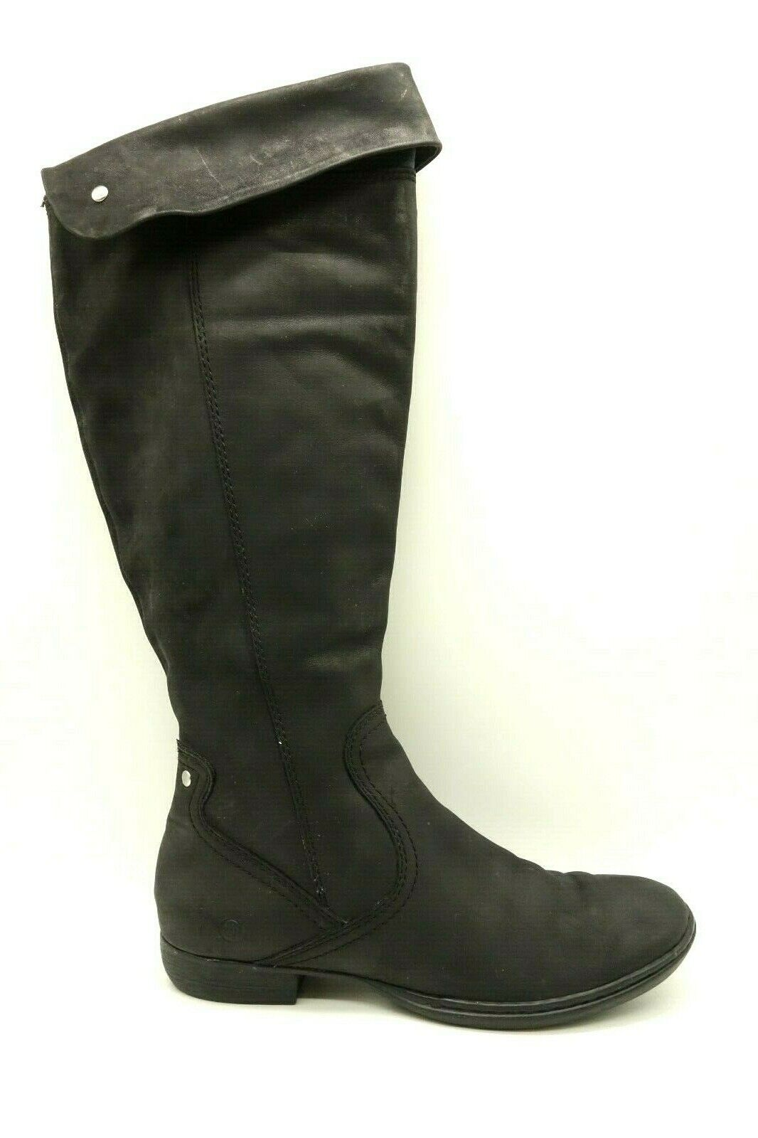 Born Black Leather Tall Casual Side Zipper Riding Boots Women's 8.5   40 M