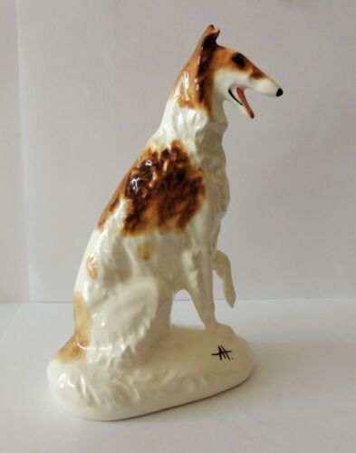 Russian Borzoi sit red piebald Author/'s porcelain figurine NEW Limited Edition