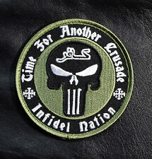 TIME FOR ANOTHER CRUSADE PUNISHER SKULL INFIDEL CAMO GREEN HOOK PATCH