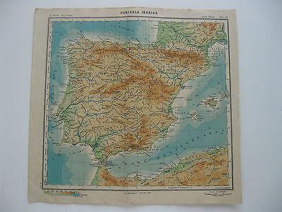 Cartina Del Portogallo Da Stampare.Mappa Paravia 1949 Spagna Penisola Iberica Carta Fisica Gibilterra Maiorca Ebay