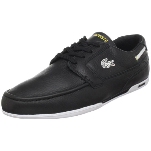 d862f6af71eed Lacoste Dreyfus AP Mens Sport Casual Leather Boat SHOES Black Gold Size 7 -  12