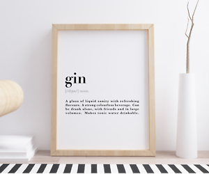Gin Funny Dictionary Definition Meaning Quote Wall Art Print Poster Home Decor